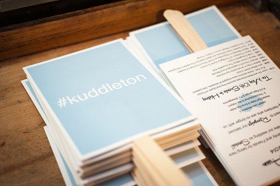DIY Hashtag Printable Wedding Program Fans  by FossilLetterpress