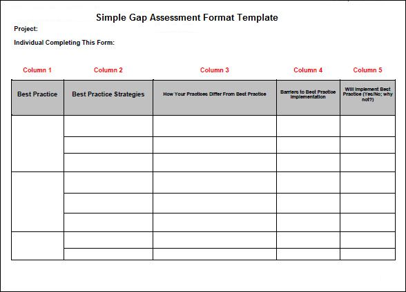 simple gap assessment format template