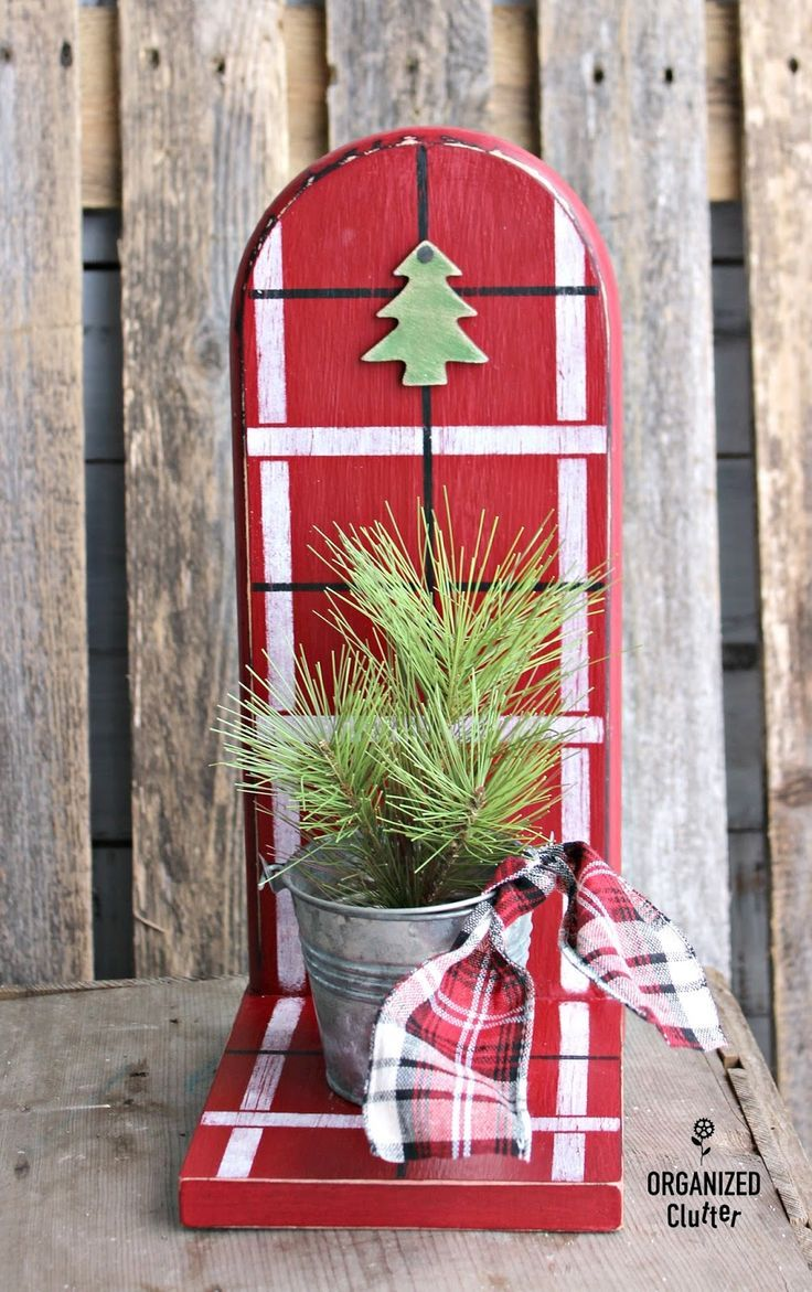 Thrifted Paper Towel Holder To Rustic Plaid Christmas Decor Organizedclutter Net Diy Christmas Decorations Easy Easy Christmas Diy Christmas Decor Diy