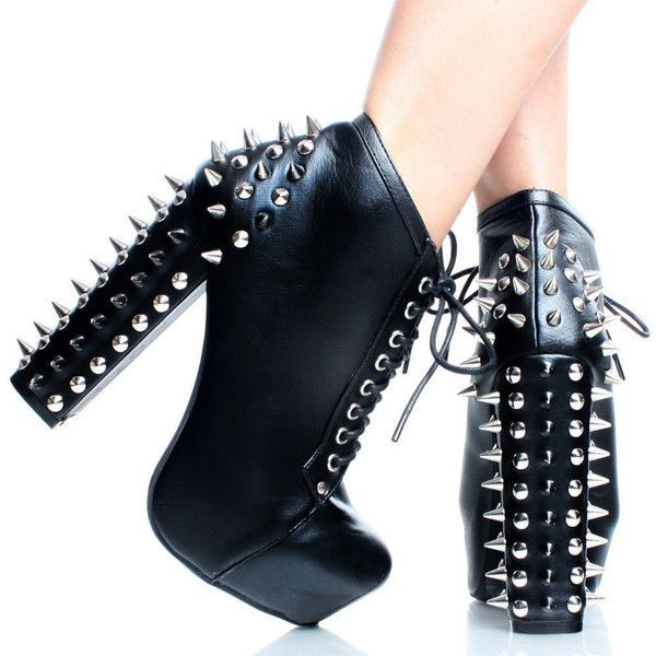 Black Punk Spike Studded Chunky Heel Women Hidden Platform Ankle Boots ($30) ❤ liked on Polyvore featuring shoes, boots, ankle booties, ankle boots, black high heel boots, black ankle boots, high heel booties, black ankle booties and black ankle bootie