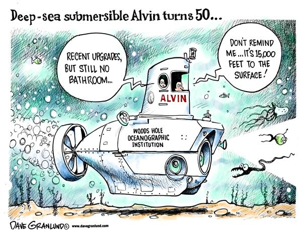 Deep-sea Alvin sub turns 50 ~  http://www.davegranlund.com/cartoons/2014/06/06/deep-sea-alvin-sub-50th/    Woods Hole Oceanographic Institution ~ http://www.whoi.edu/news-release/Alvin50th
