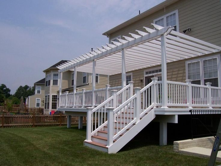 pergola over deck with railing | White Vinyl Pergola on Deck - Pergolas & Trellises Photo Gallery ...