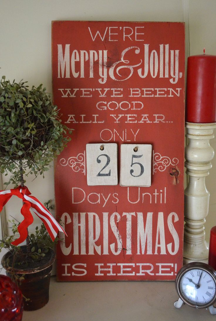 """Distressed Wood Word Christmas Countdown Advent Sign """"We"""