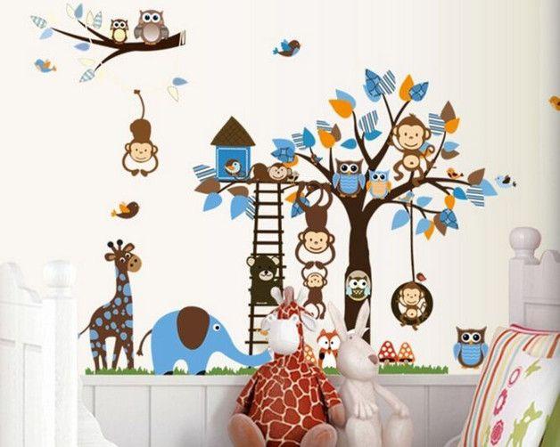 Vintage Wandtattoor f r Kinderzimmer Baum Tiere