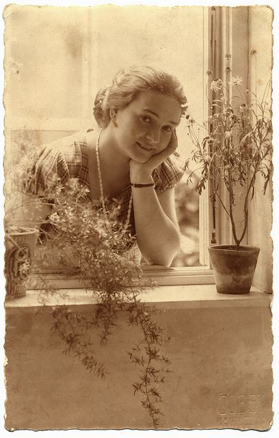 :::::::::: Vintage Photograph ::::::::::  Woman at window ~ 1925.  Beautiful composition and light.