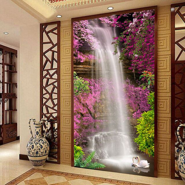 Waterfall swan photo wallpaper custom 3d wallpaper natural for Wallpaper for home entrance