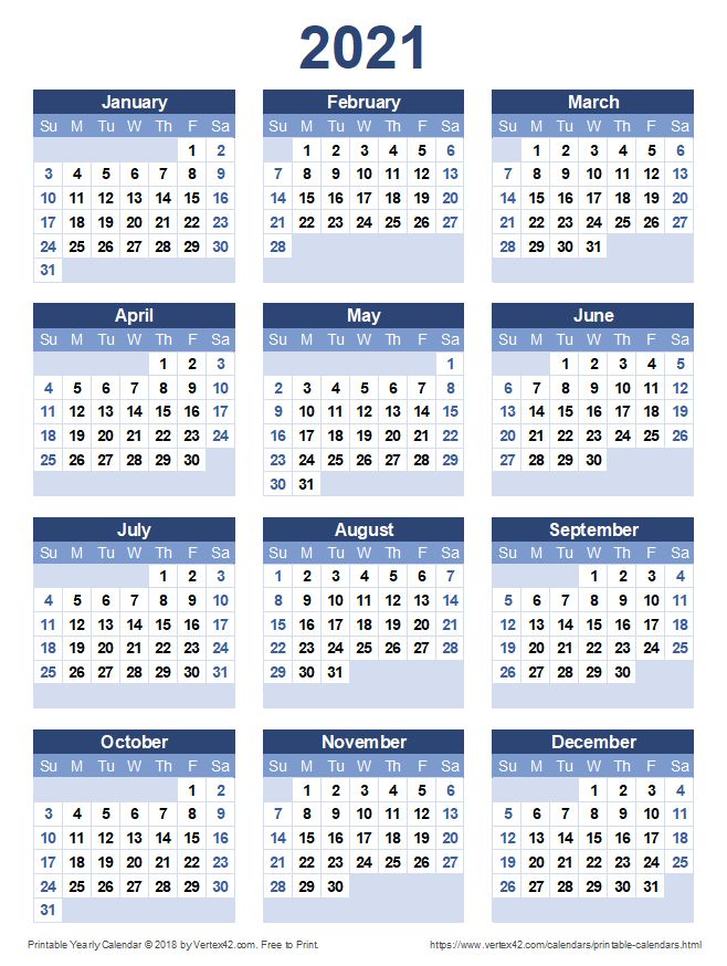 Download a free Printable 2021 Yearly Calendar from ...