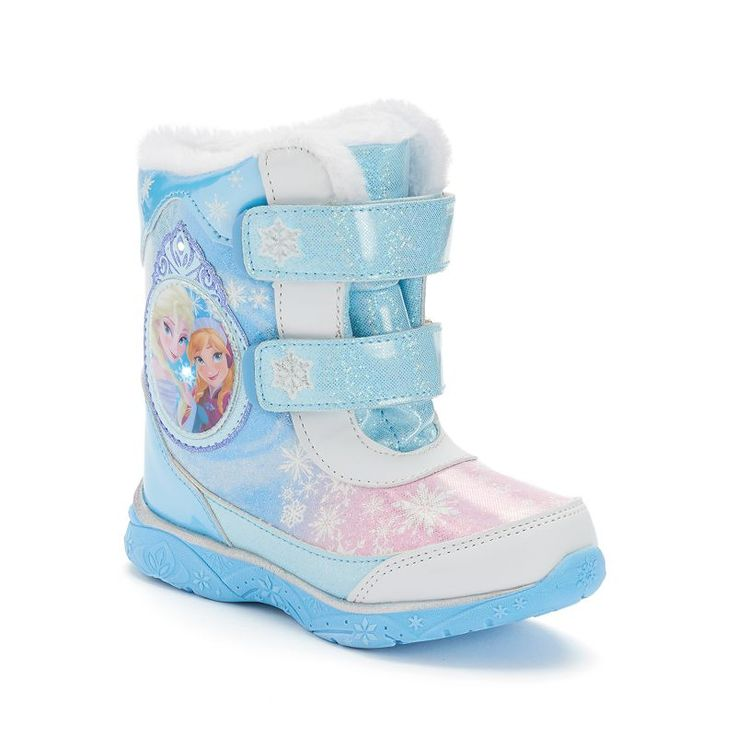 Disney's Frozen Anna & Elsa Toddler Girls' Light-Up Winter Boots, Med Blue