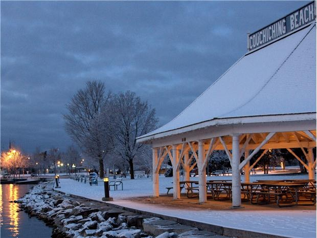 Orillia, Ontario watched the winter sun rise from this shelter many times.. hot coffee and warm clothes...weekends only