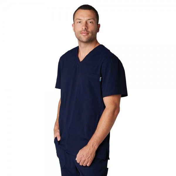 Koi Lite Men's Strength Top in Navy. The Strength top is comfortable, durable and easy-care. The athletic style fabric is super stretchy and soft. £29.99 #menscrub #dentistscrub #nursescrubs #bluescrub