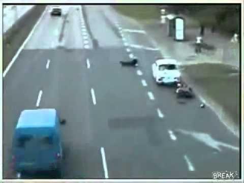 Crazy Motorcycle Crash on Highway