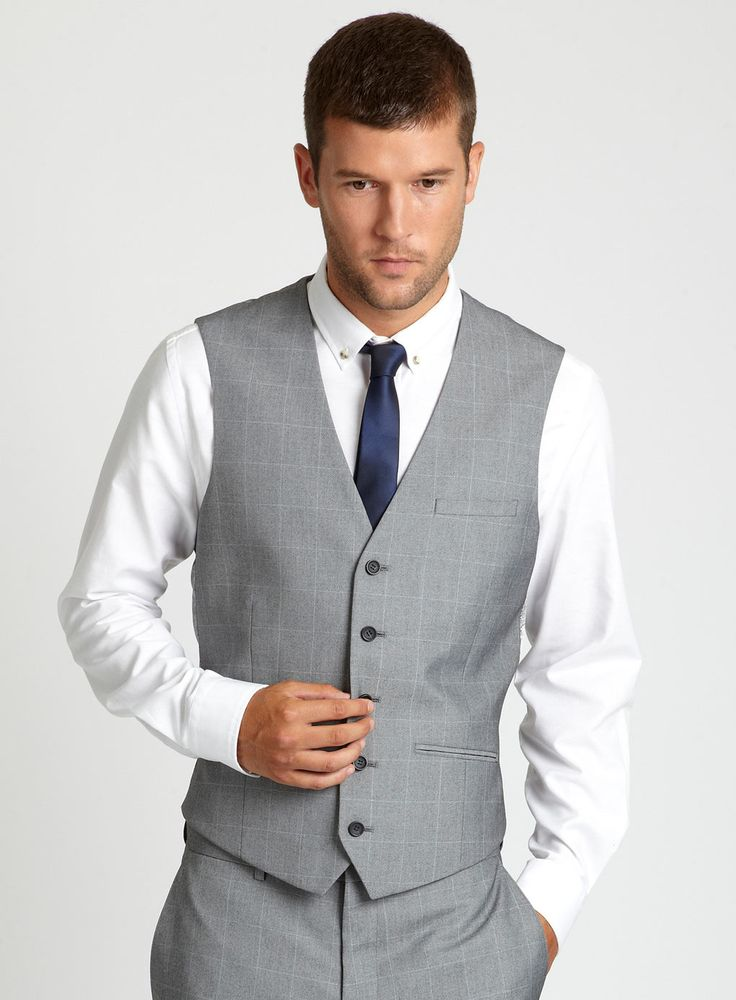 again, grey waistcoat and navy blue tie. Hope can get matching ...