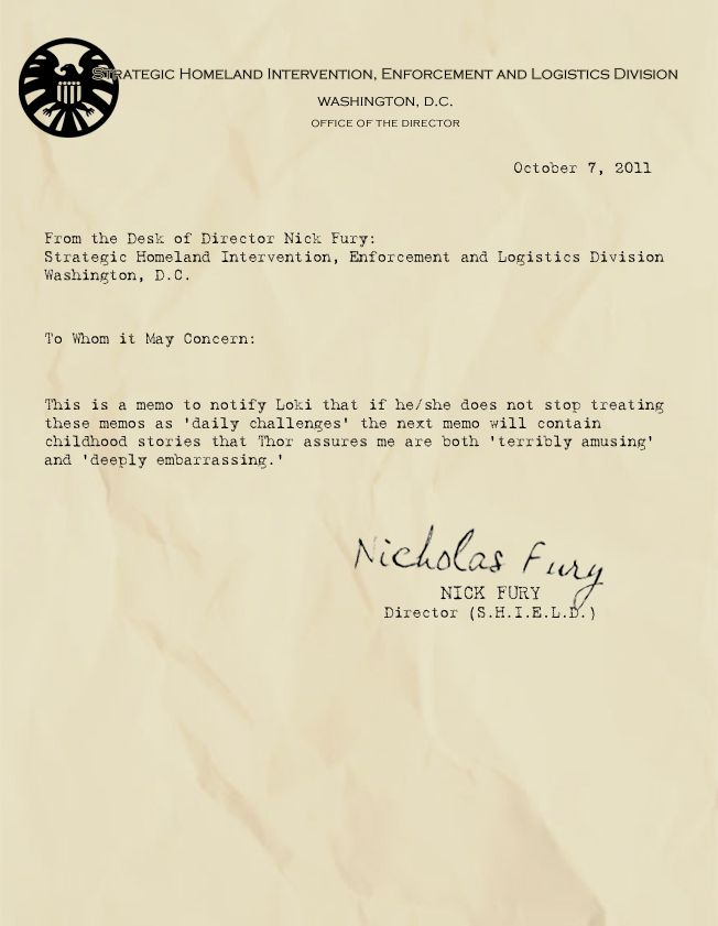Memos from Fury #AvengersAgent Coulson, Loki, Memo, Captain America, Desks, Dr. Who, Shield, Nick Fury, The Avengers