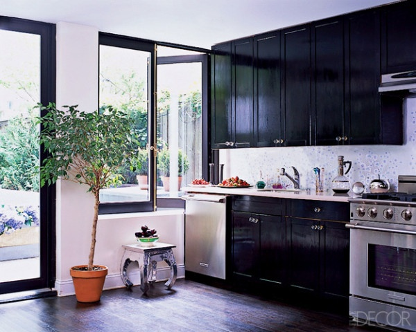 Designer Cynthia Rowley took Home Depot plain Cabinets and laquered them black