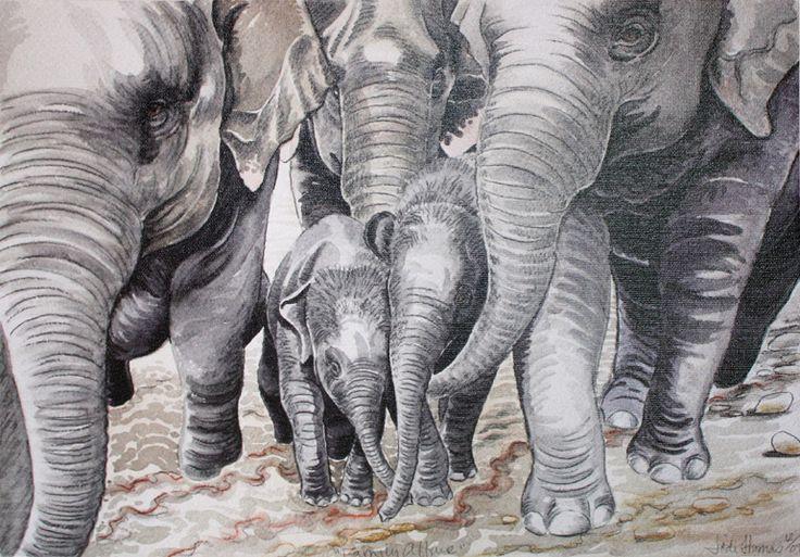 Elephant painting on canvass - A Family Affair
