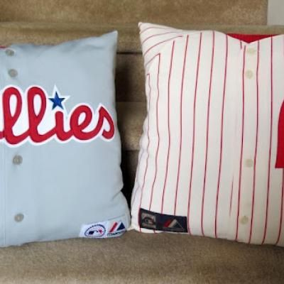 Sports Jersey Pillow Tutorial. Can use the same idea with tees from vacation spots, favorite hang outs, etc. Links to a site with lots of neat projects that don't involve pillows