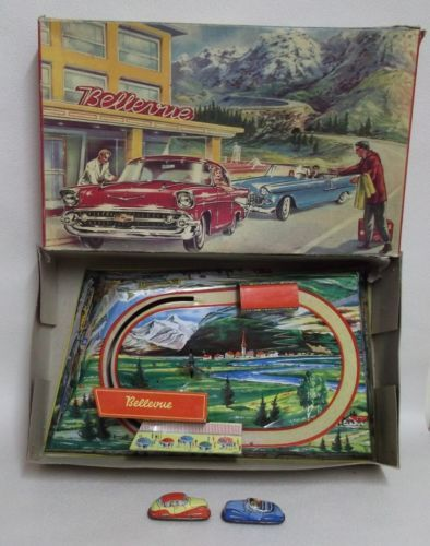 Circuit-de-voiture-en-tole-lithographiee-Bellevue-Punch-France-jouets-Shell