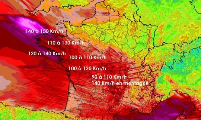 Two killed as storm winds tear across France - violent red colouring on wind speed map for storm Zeus in France - The Connexion    Graphic: Méteociel.fr