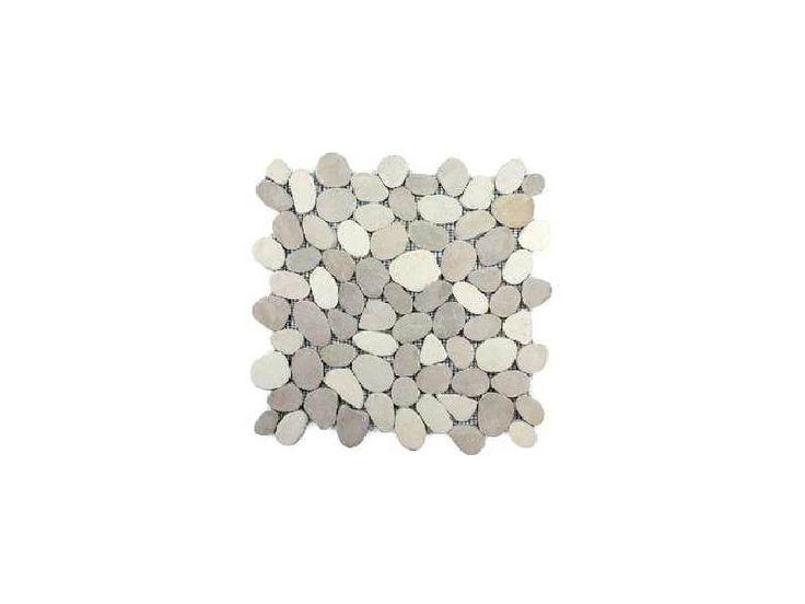 Achat vente de plaque de galets plats marbre gris mix 33 for Achat carrelage mosaique