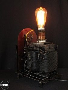 Lampe Tractor creation piece ancienne electrique industriel 6 steampunk Tractor Lamp industrial vintage loft indus