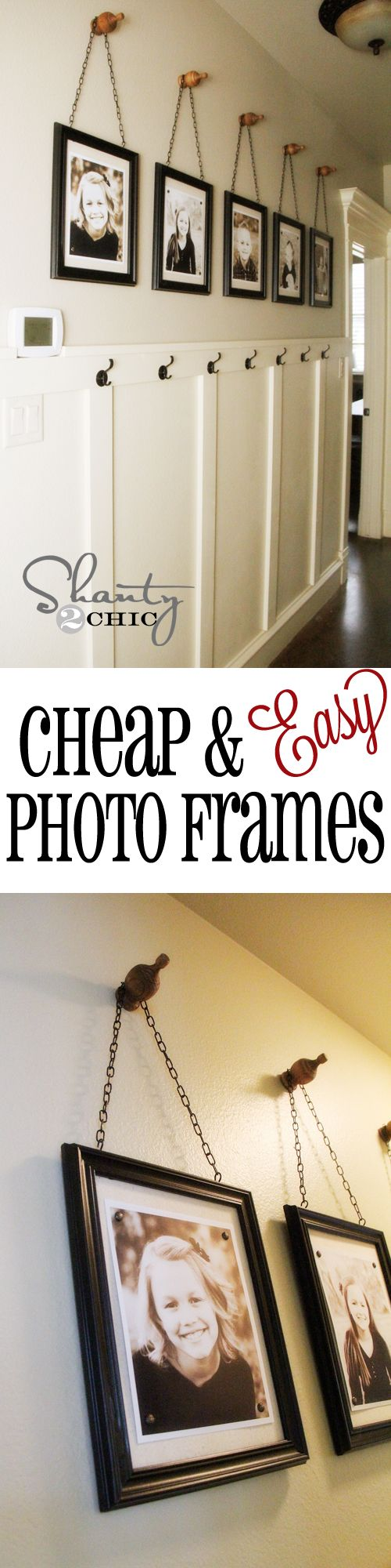 Cheap  Easy Picture Frames!  All you need is a hot glue gun... Woohoo!