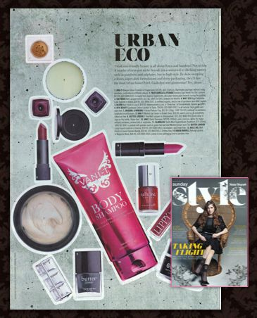 Thanks to the gorgeous new Sunday Style for their beauty loving in their Urban Eco beauty feature! Lips, eyes and body - we have you covered without any chemical nasties.