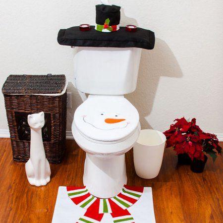 Christmas Decorations Happy Santa Toilet Seat Cover Rug Bathroom Set Snowman, - Walmart.com