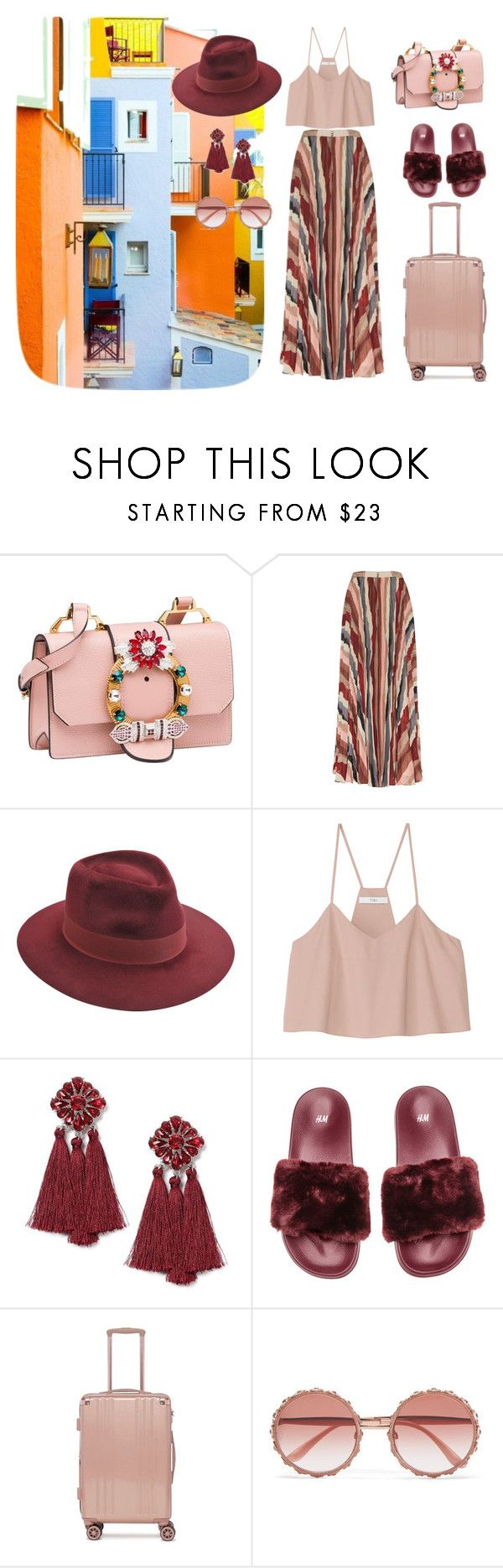 """Saint Tropez Travel Outfit"" by salbiylaazzara-fashion on Polyvore featuring Saint Tropez, Miu Miu, Alice + Olivia, Larose, TIBI, Miss Selfridge, CalPak, Dolce&Gabbana, sainttropez and outfitsfortravel"