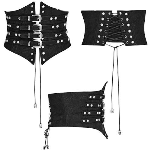 Black Leather Studded Lace Up Gothic Steam Punk Girdle Corsets SKU-71106071