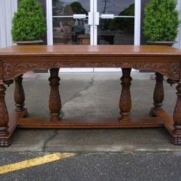 Antique and Vintage Furniture For Sale - Executive Library Table - Carved Cherub Face