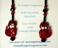 ~:~ Red Cat! Glass Bead Earrings ~:~