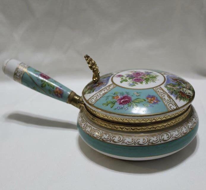 Vintage Lefton Ceramic Decorative Pot With Hinged Lid Brass Trim Handle Decorative Pots Hinged Lid Lefton