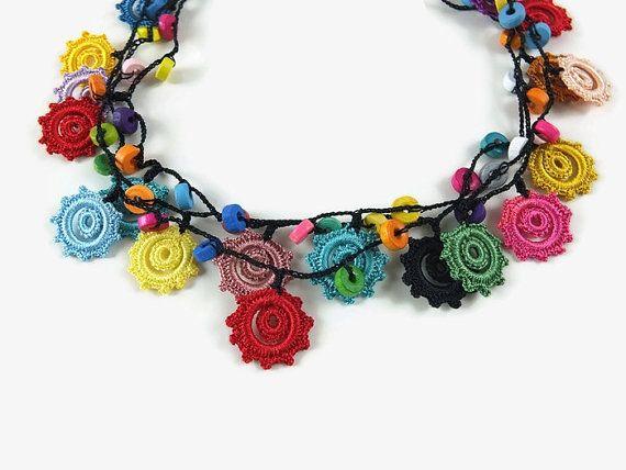 SALE Colorful Crochet Necklace Turkish Oya Layered by Nakkashe
