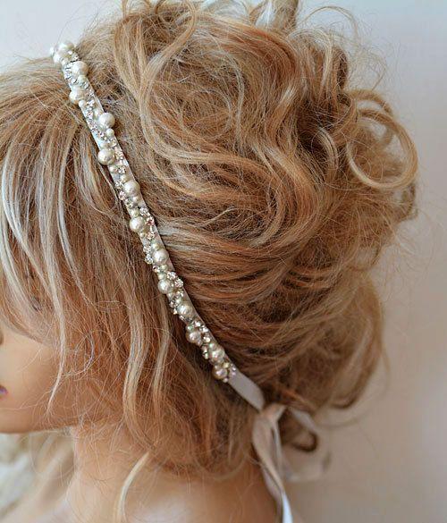 Headpiece nupcial com pérola, acessório de cabelo de cristal, tiara de casamento, peça de cabelo de casamento, faixa de testa nupcial, acessórios de cabelo de noiva   – Haare Hochzeit