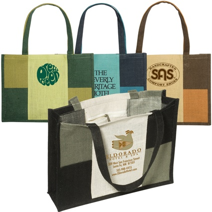 LT-4321 City Square Jute Tote. An Eco-Responsible™ product. Jute fabric with contrasting accents and handles. Laminated interior with zippered pocket.