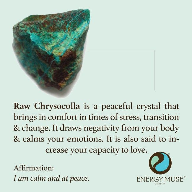 Raw Chrysocolla is a peaceful crystal that brings comfort in times of stress, transition and change. It draws negativity from your body and calms your emotions. #crystals