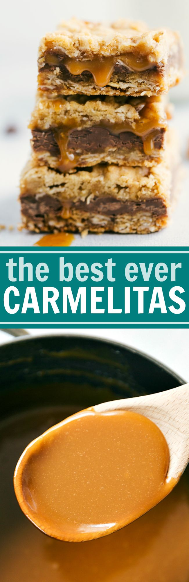 The BEST EVER Carmelitas -- oatmeal bars with a thick layer of milk chocolate and creamy caramel. These bars can be prepared in 20 minutes or less! via chelseasmessyapron.com