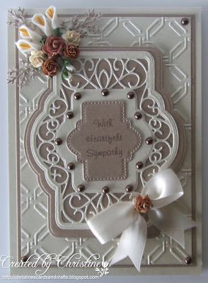 "Christine's Cards and Crafts 7""x5""ivory and taupe pearlescent paper. garden lattice EF. SW auvergene die. cheery lynn wreath strip"
