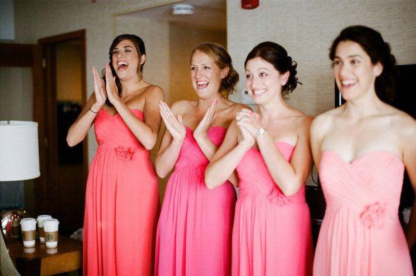 shades of pink bridesmaid dresses