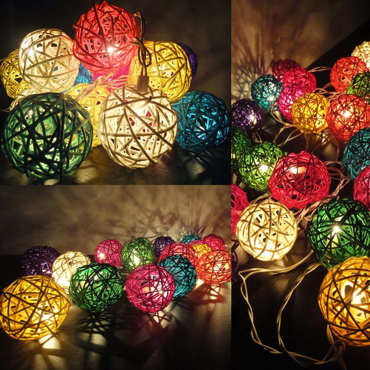 Dorm Safe String Lights : 20 Mixed Multi Handmade Rattan Balls Fairy String Lights Party Patio Wedding Floor Table or ...