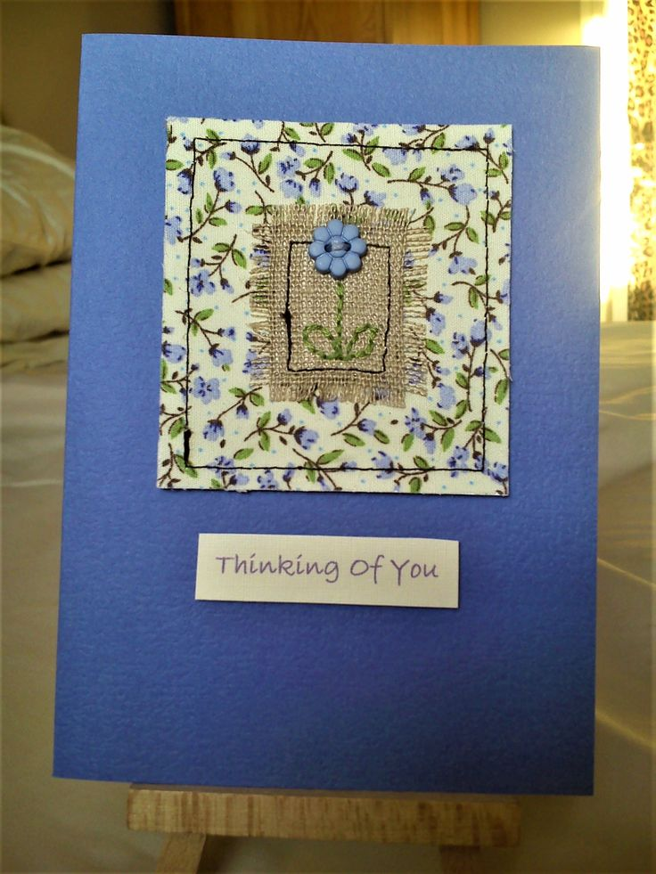 Handmade sewn card made with pretty fabric, linen and a flower button