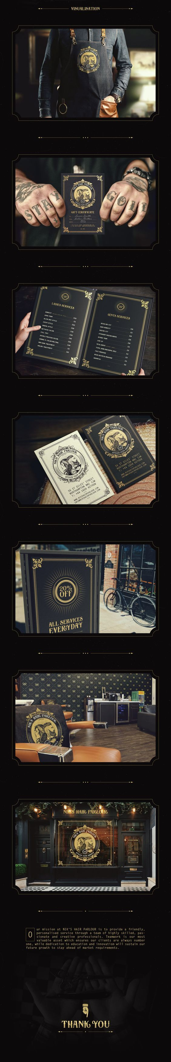 ✂ NIK'S HAIR PARLOUR is a vintage modern hair salon for both ladies and gents, located in the town centre of Northampton. Barbershop, barber shop, barber, hair salon, parlour, beard, moustache, logo, sign, badge, vintage, retro, hairdressing salon, brand identiy, mockup.: