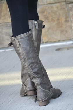 Gray Riding Boots - LOVE