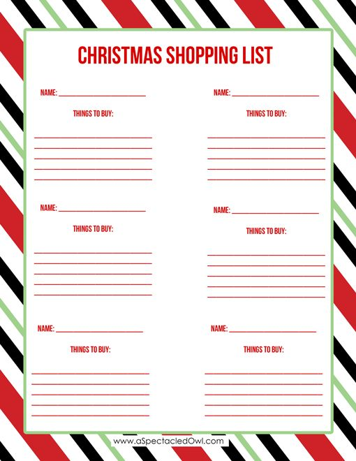 25 best ideas about Christmas Shopping List – Christmas Checklist Template