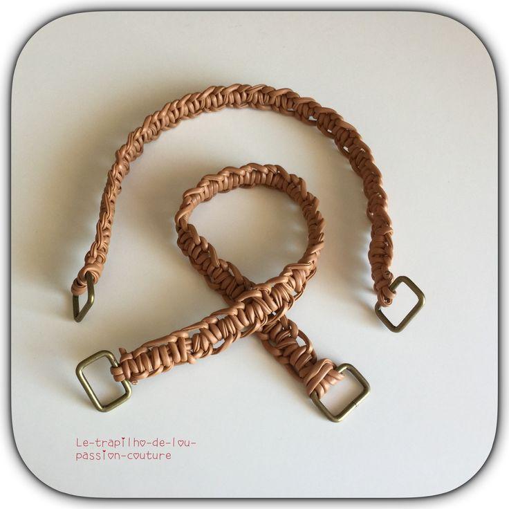 Lot de 2 anses / poignées de sac 49 cm marron : Fermoirs sac, porte-monnaie par le-trapilho-de-lou-passion-couture