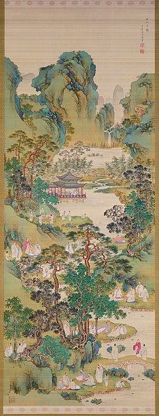 Poetry Gathering at the Orchid Pavilion, by Nakabayashi Chikkei. Ink, colour and gofun on silk, dated between 1816-1867