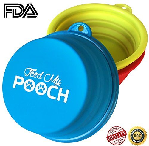 Travel Dog Bowl - Collapsible Dog Food Bowl, Pet Travel Bowl & Pet Supplies For Dogs Water Bowl - 3 Color Set - Easy To Carry & Clean, For Small Dogs & Large, Perfect Dogs Accessories For Travelling & Holidays, Free Mountain Hook, Feed My Pooch On The Go Now! Feed My Pooch http://www.amazon.com/dp/B0110NLFTK/ref=cm_sw_r_pi_dp_hHZZvb0BP73FD