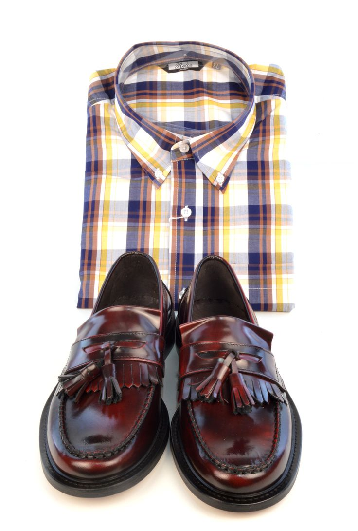 Modshoes Oxblood Tassel Loafers & Relco London Checkered Shirt