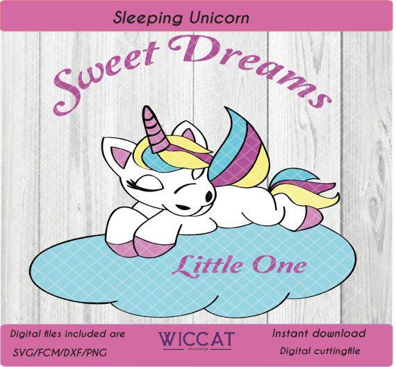 Baby Eenhoorn svg Regenboog pony  Slaapende door WiccatDesign