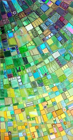 Beautiful mosaic... I like the little round inclusions. Could do something similar with paper/buttons?